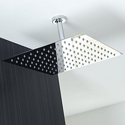 flush mounted rain shower head. Koko Brand Rain16 16 inch Solid Square Ultra Thin Rain Shower Head  Polished Stainless Steel Chrome Ceiling Amazon com