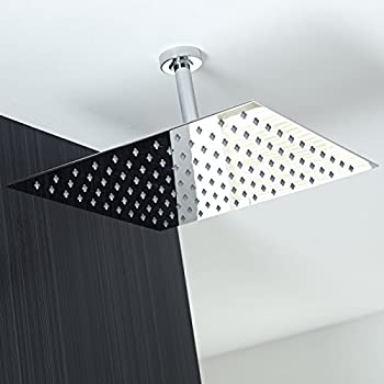 Koko Brand Rain16 16 Inch Solid Square Ultra Thin Rain Shower Head,  Polished Stainless