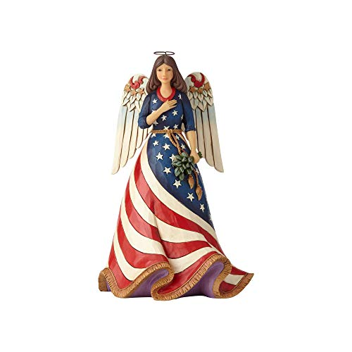 Enesco Jim Shore Heartwood Creek Patriotic Angel with Flag Dress Figurine, 9.8