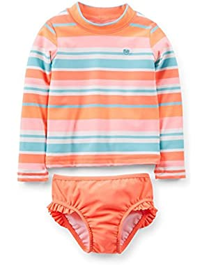Little Girls L/S Striped 2pc Rashguard Swim Set