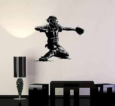 Vinyl decal baseball catcher player sports man fan decor wall stickers vs2232