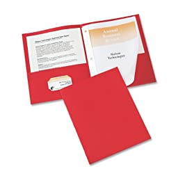 Avery Two-Pocket Folders, Red, Pack of 25 (47979)