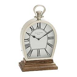Deco 79 Stunning Steel Wood Table Clock