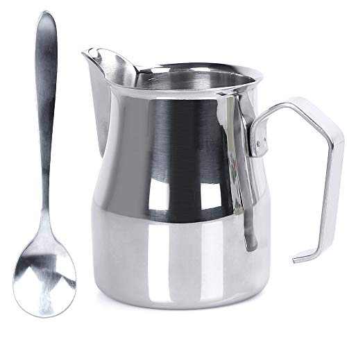 (Ostrichy Milk Frother Pitcher, Stainless Frothing Pitcher, Milk Frothing Pitcher 12 oz, Frothing Pitcher with Coffee Spoon - Milk Frothing Pitcher Perfect for Cappuccino, Milk Frother, Latte Art)
