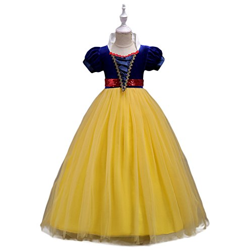 Yiwa Baby Girl Stylish Tutu Princess Dress Lovely Bowknot Decoration Dress for Halloween Yellow 130cm -