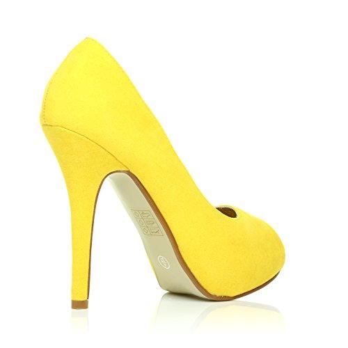 Giallo tacco con TIA scamosciata pelle e punta da Scamosciato spillo finta scarpe plateau in a aperta donna e xF1Tq