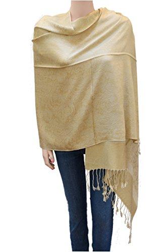 Flyingeagle Trade Jacquard Paisley Pashmina Shawl Scarf Stole for Women (Light Yellow/Beige)