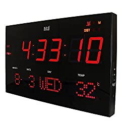 HITO Extra Large Atomic Radio Controlled Red LED Wall Clock, Brightness Adjustable
