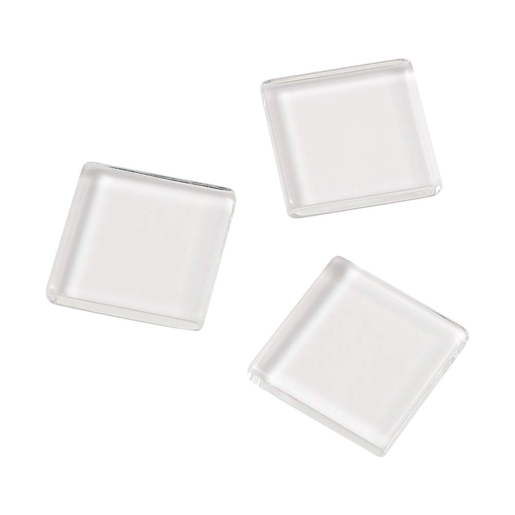 Craftdady 50pcs Square Transparent Clear Glass Dome Tile Flatback Cabochon 24.5x24.5mm 0.96 for DIY Photo Jewelry Art Craft Making