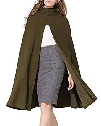 Women's Batwing Poncho Warm Hooded Coat Army Green Small