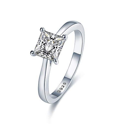 Stunning Sterling Silver Princess Cut Solitaire Engagement Ring With 5A Zircon