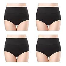 Wirarpa Womens 4-Pack Cotton Underwear Briefs Plus High Waist Postpartum Panties