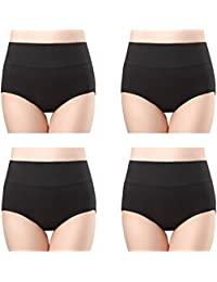 Womens Cotton Underwear 4 Pack High Waist Briefs No Muffin Top Ladies Stretch Panties Underpants