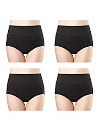 Wirarpa Womens 4-Pack Cotton Underwear Briefs Plus High Waist Postpartum Panties