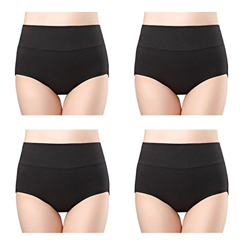 wirarpa Womens Cotton Underwear 4 Pack High Waist Briefs Light Tummy Control Ladies Comfort Stretch Panties Underpants Size L,Black