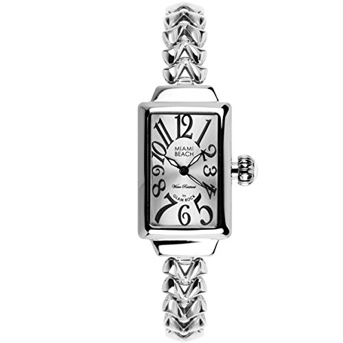 Glam Rock Women's MBD27036 Miami Beach Art Deco Silver Dial Stainless Steel Watch