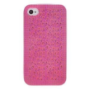 MOFY-Caso rosado del grano del leopardo Volver con la bandeja y el cap'tulo medio para iPhone 4/4S