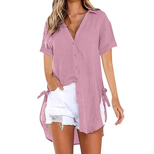 Plus Size Cotton Shirt for Women's Loose Button Long Shirt Dress Cotton Ladies Casual Tops T-Shirt Blouse