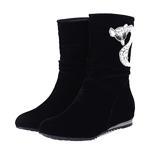 AllhqFashion Mujeres Gamuza(Imitado) Caña Baja Tachonado Sin cordones Mini Tacón Botas Negro