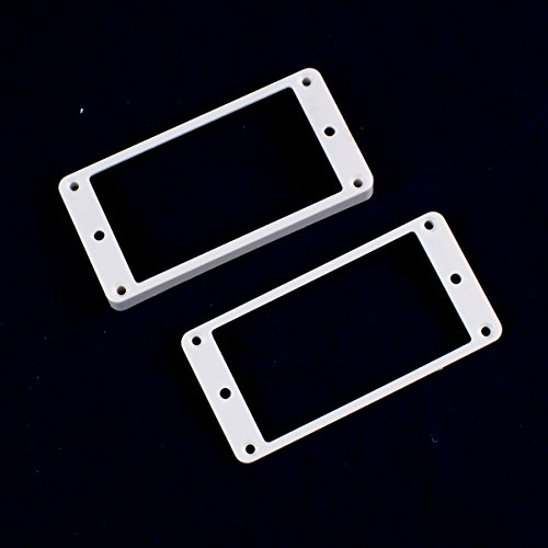 Set of 2 Humbucker Pickup Mounting Rings for bridge and neck pckups ,Flat bottom ,White (Pickup Ring Set)