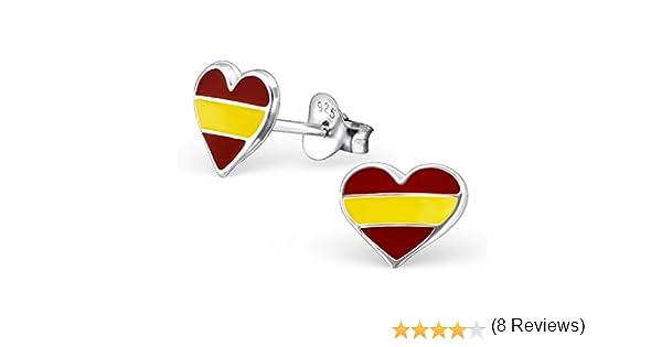 laimons de mujer pendientes de mujer joyas Corazón Bandera de España Plata de ley 925: Amazon.es: Joyería