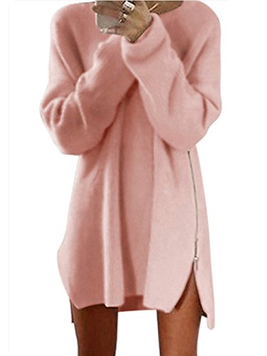 Yomoko Womens Long Sleeve Side Zipper Loose Casual Tunic Knit Pullover Sweater Dress Tops (Small, Pink)