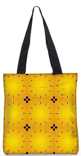 """Snoogg Schwarzes Abstraktes Gelbes Muster-Einkaufstasche 13,5 X 15 In """"Shopping-Dienstprogramm Tragetasche Aus Polyester Canvas"""