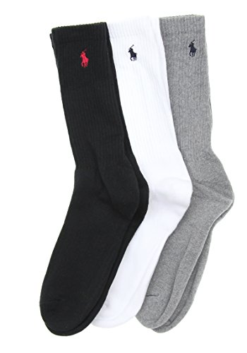 Polo Ralph Lauren Men's Classic Cotton 3 Pack Crew Socks-Asst
