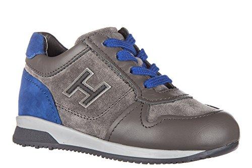 Hogan chaussures baskets sneakers enfant garçon en daim neuves elective h flock