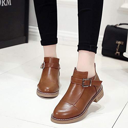 Beladla Zapatos De Mujer Botines Cortos Botines Inglaterra BritáNica Botas Navidad TacóN Bajo Scrub Retro Felpa Mantener Caliente Boot Ante: Amazon.es: ...