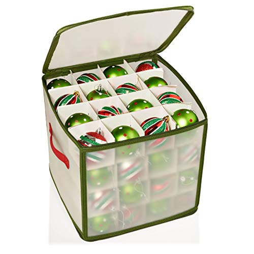 Home Basics Easy Storage  64 Compartment Zippered Christmas Ornament  Box Tote Chest, with Handles,  Holds 64 Ornaments That are up to  3 inch in ()