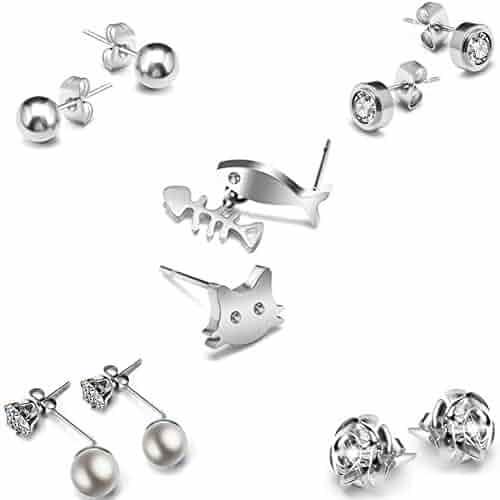 d91825a27 Bling Toman Womens Titanium Earrings Girls Surgical Steel Earrings  Hypoallergenic Earrings for Sensitive Ears Piercing Earrings