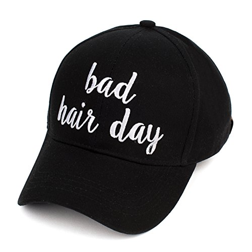 (C.C Embroidered Lettering Cotton Baseball Cap (BA-2017) (Black/White, Bad Hair Day) )