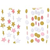 How to Make a Shower Curtain Paper Garland, Emopeak 80ft Hanging Glitter Paper Garland Circle Dots for Wedding, Bridal Showers, Birthday Party, Event Party Decor (6Pack Circle Polka Dots and 2Pack Stars-Pink White Gold)