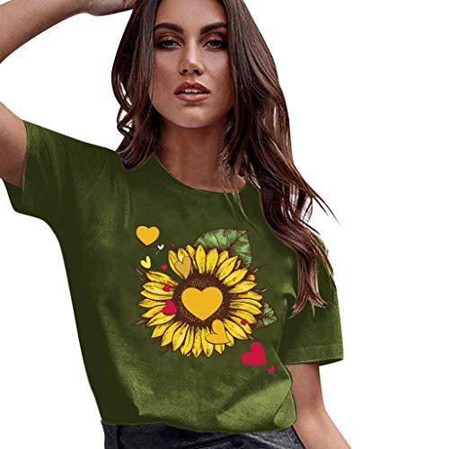 Willow S Women T-Shirt Plus Size Lips Colorful Print Short Sleeve O-Neck Loose Tops Casual Tees Blouse Army Green