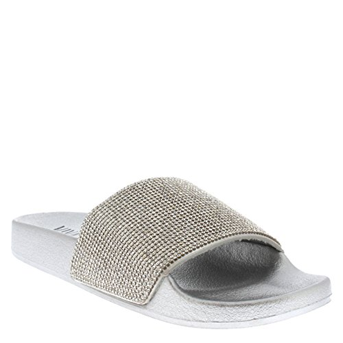 Shoe Viva Fashion Womens Platform Diamante Silver Mules Slip Sandals On Summer Sliders rqrazCw