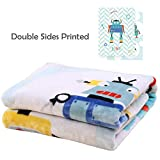 i-baby Premium Baby Blanket Thick Raschel Newborn Swaddling Double Sides Printed Toddler Blankets for Girls Boys Children Soft Big Flannel Blankets (Hello Robot) Review