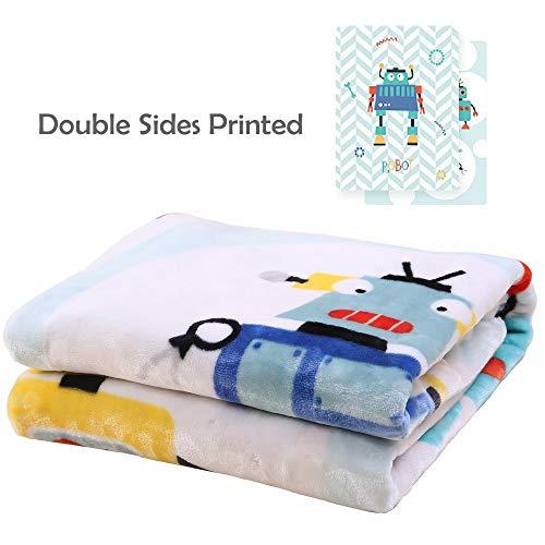 i-baby Premium Baby Blanket Thick Raschel Newborn Swaddling Double Sides Printed Toddler Blankets for Girls Boys Children Soft Big Flannel Blankets (Hello Robot) Review