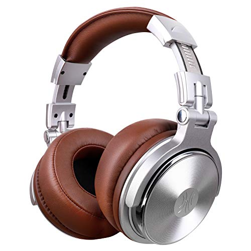 Over Ear Headphone, Wired Premium Stereo Sound Headsets with 50mm Driver, Foldable Comfortable Headphones with Protein Earmuffs and Shareport for Recording Monitoring Podcast PC TV- OneAudio (Silver) (Wired Stereo Premium Headset)