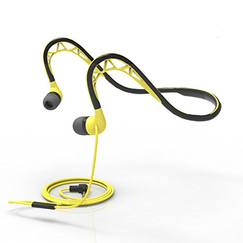 Workout Earbuds with Microphone and Remote Lightweight Sweatproof Sport Earphones, Neckband Running In-Ear Headphones,Wired 3.5mm Headphones for IPhone,IPad,Android Smartphones,Etc,Yellow