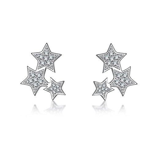 DolceArt 3 Stars Sterling Silver Stud Earrings Ear Crawler Studs CZ Ear Cuff for Women Jewelry (Style 1)