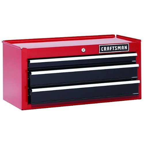 Craftsman 26 In. 3-drawer Chest Heavy-duty Ball Bearing Middle Chest -Red Tool Box Backed By 6-year Limited Warranty 26 Inch Steel Tool Box