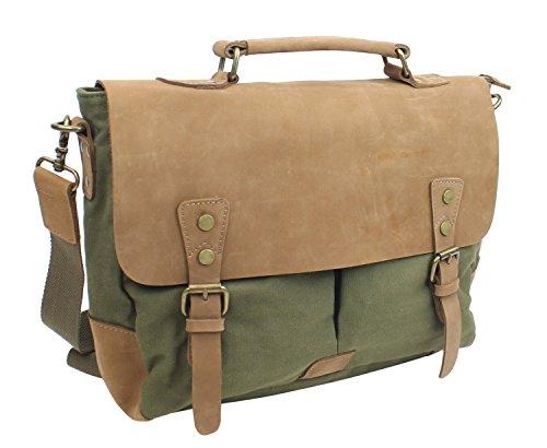 - Vintage Cotton Canvas Casual Style Cowhide Leather Cotton Canvas Laptop Bag C43.GRN