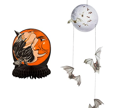 [Beistle Witch and Moon Centerpiece and Beistle Halloween Mobile Hanging Party Decor] (Adult Vintage Witch Costumes)