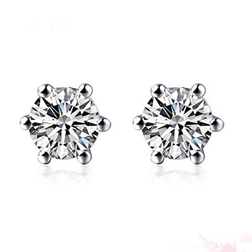 G&S Diamonds Diamond Earrings Studs for Women 1/5 Carat in Platinum 900 ()