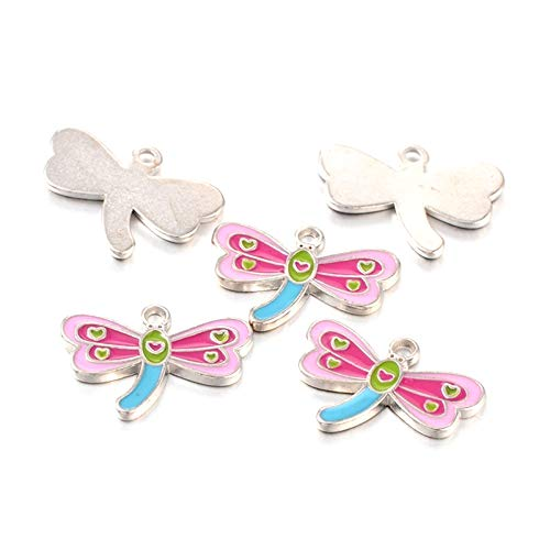 Animal Butterfly Necklace - Craftdady 5Pcs Alloy Enamel Dragonfly Charms 18x24mm DIY Jewelry Necklace Earring Bracelet Craft Making Animal Pendants with 2mm Hole