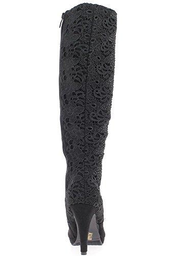 Schwarze Stiefel mit Ferse Ende 10cm mit gestickten Stab