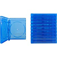 (10) Empty 21mm Thick Quad Blue Replacement Boxes / Cases for Blu-Ray DVD Movies - Holds 4 Discs - BR4R21BL