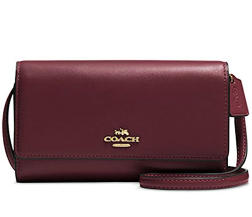 COACH Women's Smooth Leather Phone Crossbody Li/Oxblood One Size