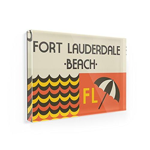Fridge Magnet US Beaches Retro Fort Lauderdale Beach - NEONBLOND (Lauderdale Magnet Fort Refrigerator)